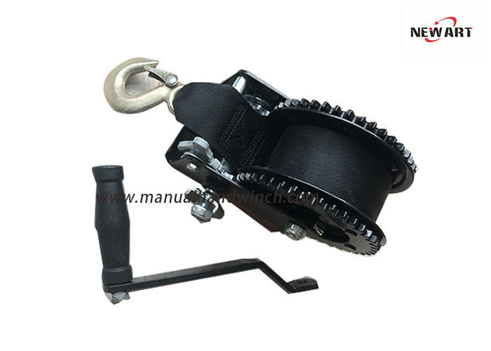 Double Gears Manual Drum Winch ,Two Way Hand Winch / Mechanical Drum Winch With Two Way Ratchet